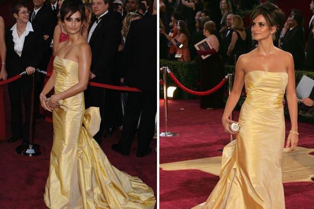 Penélopez Cruz, en los Academy Awards de 2005, con un diseño color dorado, escote palabra de honor y gran moño en la cola. Foto: NyTimes