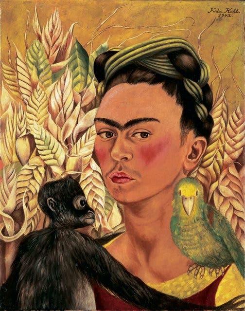 Autorretrato con chango y loro, Frida Kahlo, 1942