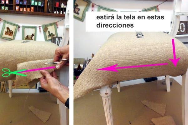 seguramente en los laterales tambin te sobra tela antes de cortar estirarla hacia abajo y llevala bien pegada al travesao del respaldo imagen