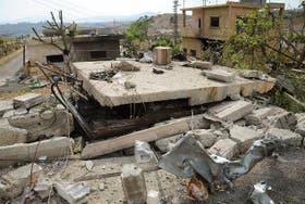 Estado en el que quedaron diversas casas supuestamente bombardeadas por Israel