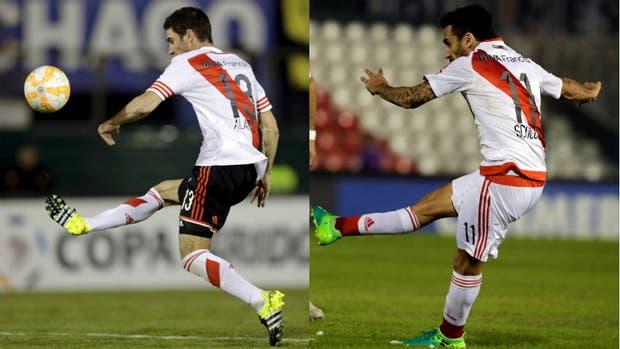 Posturas similares, idéntico destino: el arco rival. Los goles de Alario y Scocco