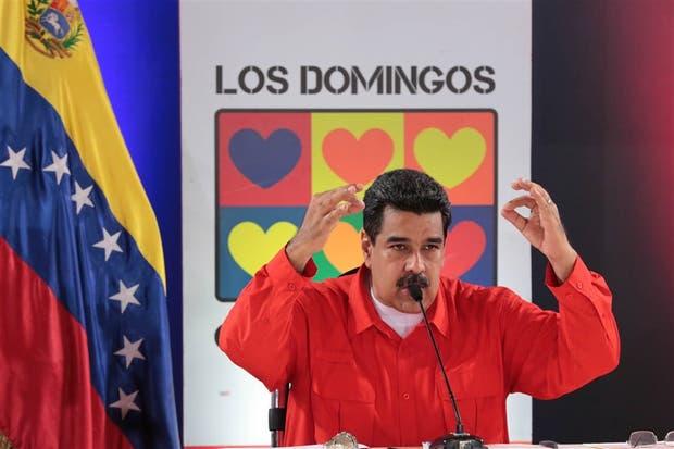 Maduro, ayer, en su habitual programa de los domingos