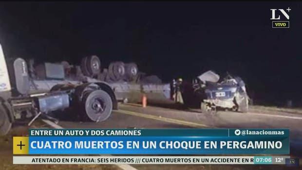 Cuatro muertos al chocar un auto y un camión en la ruta nacional 8, a la altura de Pergamino