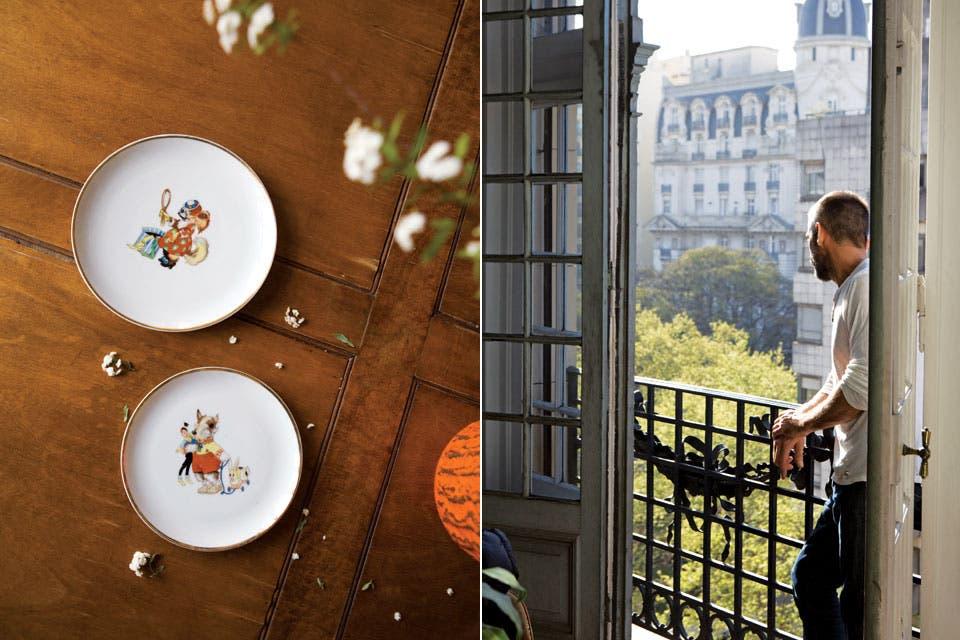 Sobre la mesa, vajilla de cuento en porcelana francesa: un recuerdo de la infancia de Nicolás.  Foto:Living /Javier Picerno