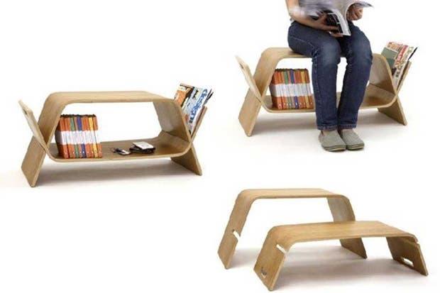 Une dos piezas de madera que se pueden utilizar como bancos o como mesas. Foto: www.decoracion.trendencias.com