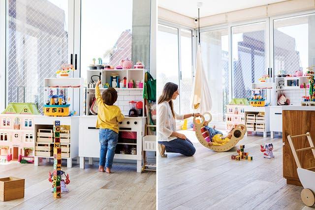 Casi como un elemento decorativo, un balancín estilo Montessori