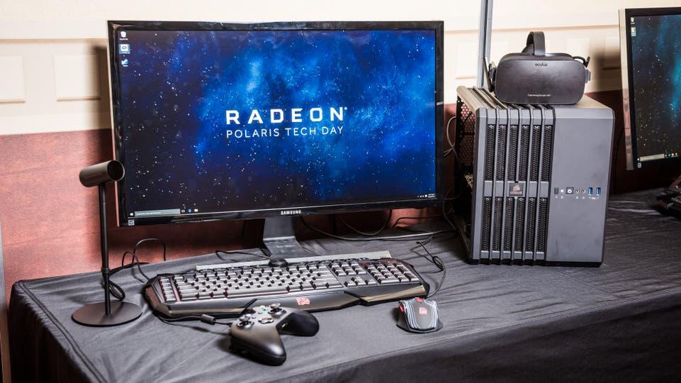 Un kit de realidad virtual Oculus alimentado por una PC con gráficos Polaris
