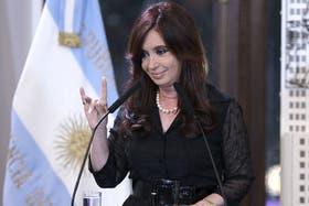 Cristina, durante uno de sus últimos actos en la Casa Rosada