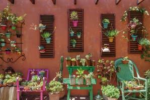 Un jardín diseñado con objetos reciclados