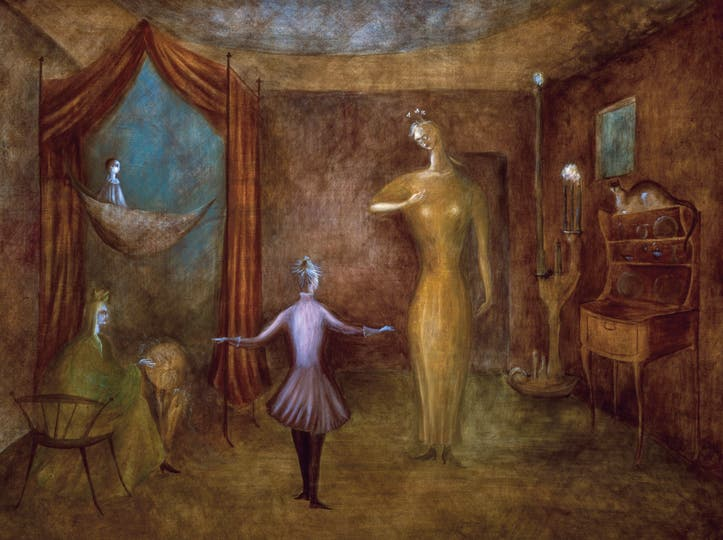 Leonora Carrington Night Nursery Everything, 1947. Témpera sobre masonite 66 x 89 cm.