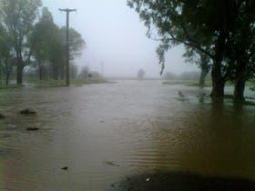 Un campo bajo el agua en Coronel Dorrego