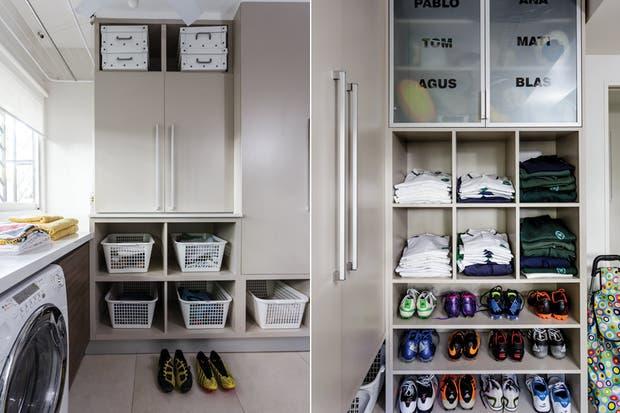 Haciendo una 'L', se encuentra la zona de los botines, uniformes y la sección donde cada quien tiene su estante para guardar cascos, tobilleras, pelotas, palos y otros elementos deportivos a los que siempre cuesta encontrarles lugar.  /Santiago Ciuffo