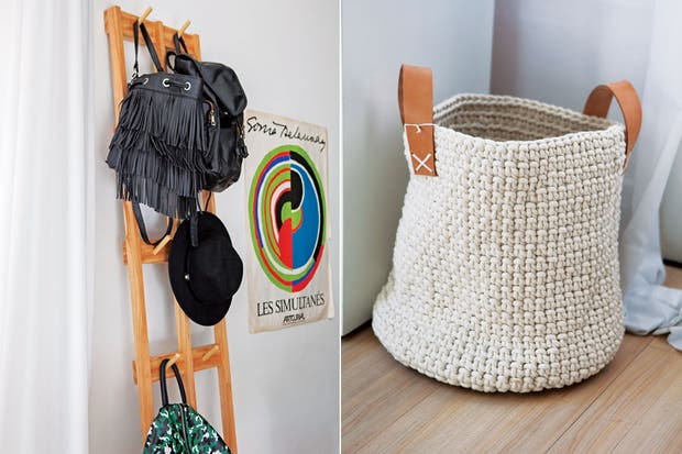 El perchero de madera de paraíso suma diseño al orden, y a la vez es un buen exhibidor.  /Javier Picerno