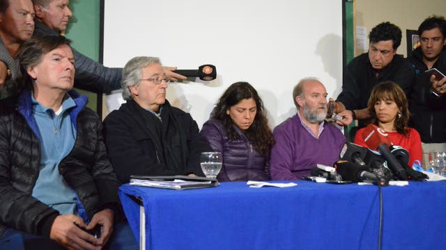 Coriolano; Inchaurregui, Andrea y Sergio Maldonado y Heredia en la conferencia de prensa