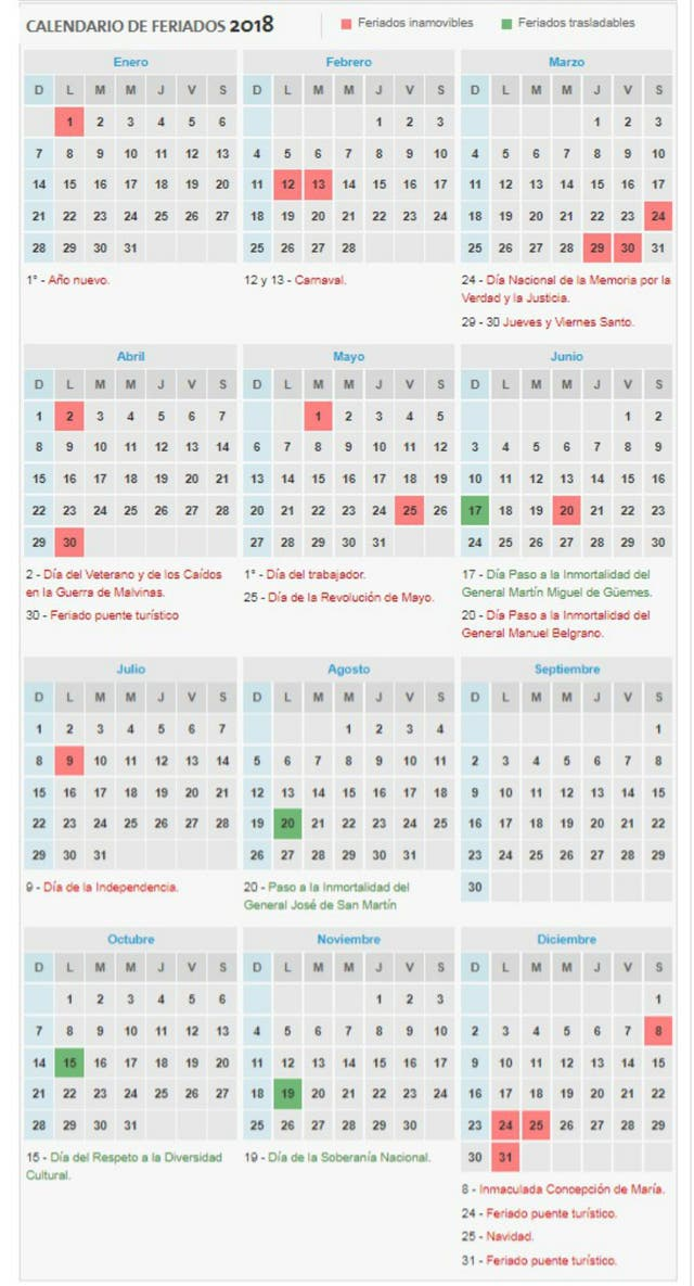 Feriados 2018: así quedó el calendario