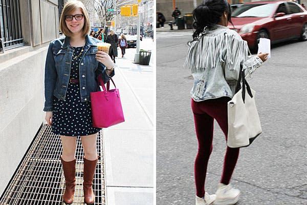 Dos looks bien diferentes: por un lado, vestido, botas, campera de jean y bolso fucsia, por otro, calzas bordó, zapatillas con plataformas y campera con flecos.