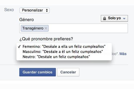 Las opciones de personalización de género en Facebook, paso a paso.