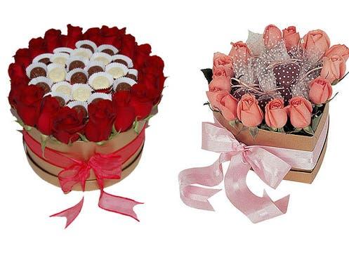 The Gift Company(www.thegiftcompany.com.ar) ofrece cajas delicadísimas y súper románticas con rosas y bombones ($210). Foto: lanacion.com