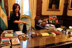 Cristina Fernández al volver a su trabajo este miércoles