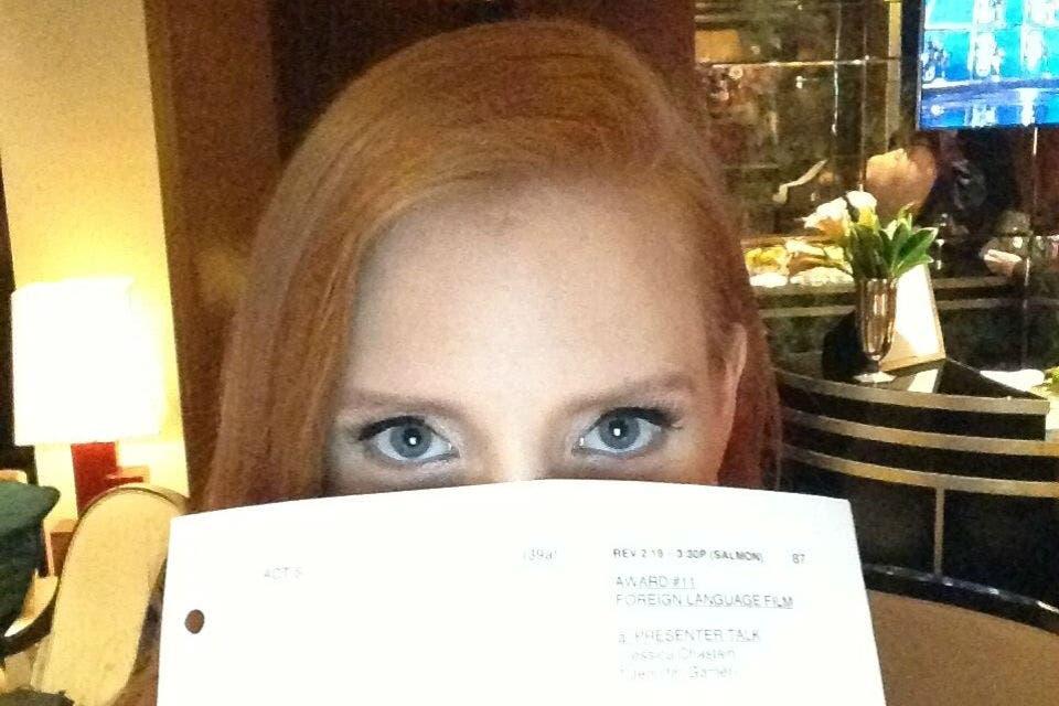 Jessica Chastain sabía de antemano quien iba a ganar el premio a mejor película extranjera. Foto: /Twitter
