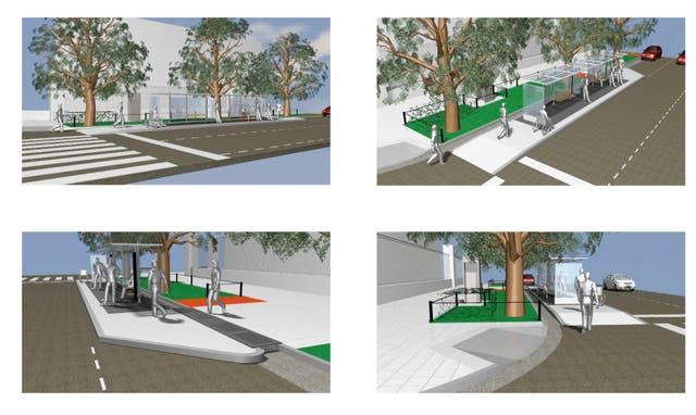 Distintas vistas del proyecto de la parada que se instalará en el cruce de Libertador y Pereyra Lucena