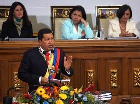 Chávez, ayer, durante su exposición ante la Asamblea Nacional, en Caracas