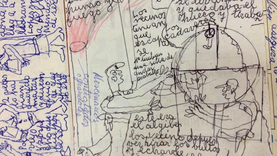 López guardó en una caja de herramientas unos 30 manuscritos sobre sus años como desaparecido durante la dictadura. Foto: Gentileza Jorge Caterbetti
