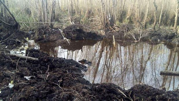 El lugar donde fue hallado el avión, un sitio pantanoso de difícil acceso