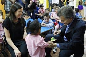 Mauricio Macri, en una visita a un centro de primera infancia