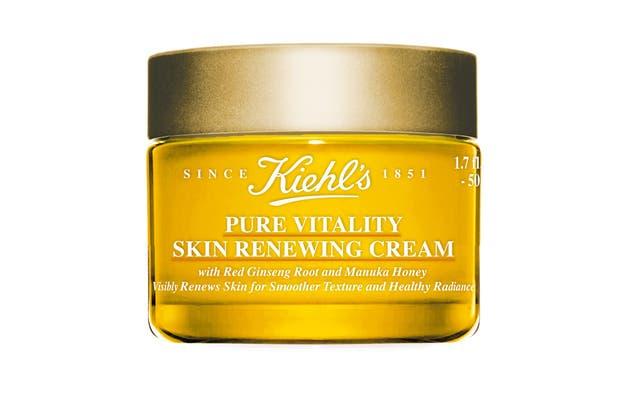 Pure Vitality Skin Renewing con miel de Manuka y raíz de gingsen rojo. Crema hidratante que alisa la textura de la piel, aporta luminosidad, aumenta la elasticidad y reduce las líneas de expresión. $1595, Kiehl´s.