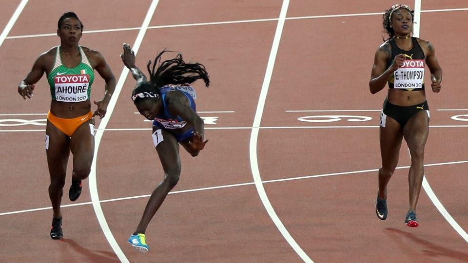 La estadounidense Tori Bowie (centro) se impone en la final de la prueba de los 100 metros. Foto: Reuters