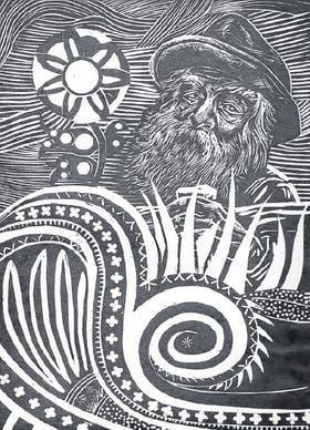 Personaje con sombrero y barba alta, Walt Whitman por Antonio Berni