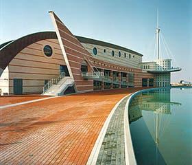 La zona de los accesos del Palacio de los Deportes de Torrevieja, con el espejo de agua en primer plano y la torre que alude al nombre de la ciudad