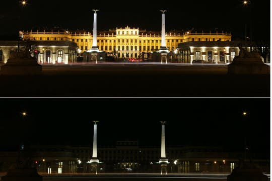 El Palacio Imperial de Viena prácticamente no se vio cuando apagaron las luces. Foto: Reuters