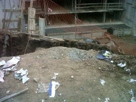 Estado de la obra donde sucedió el derrumbe