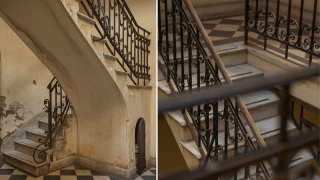 Las escaleras antes de convertirse el edificio en la sede de Casa FOA