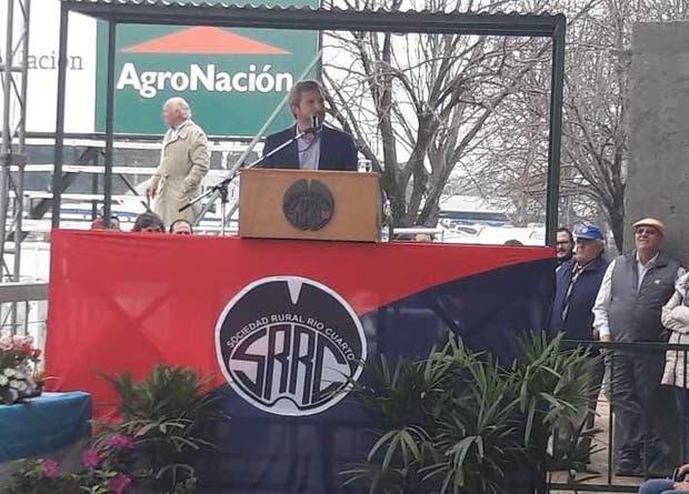 El ministro Frigerio, esta mañana en la inauguración de la exposición de la Sociedad Rural de Río Cuarto