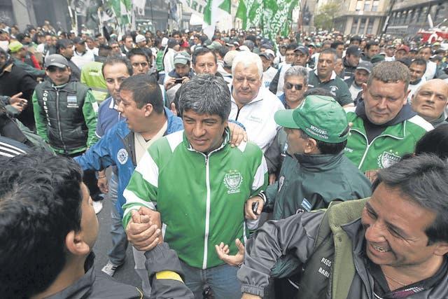 Moyano, en una marcha con la CTA y ATE.