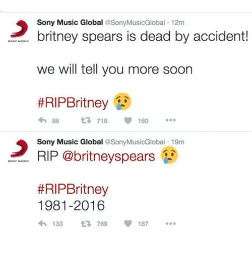 El tuit que daba por muerta a Britney