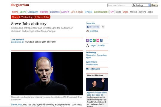 El portal de The Guardian, de Inglaterra.