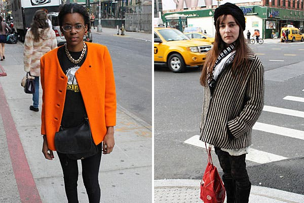 Incorporá ropa vintage a tu armario! Blazer naranja que levanta cualquier conjunto y un abrigo a rayas a tono con el resto del outfit.