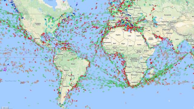 El sitio MarineTraffic muestra en tiempo real la posición de barcos cargueros de todo el planeta