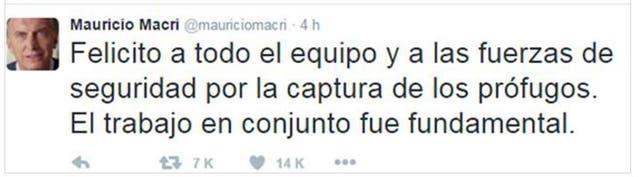 El tuit de Mauricio Macri