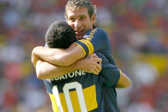Román y Martín en la Copa Libertadores 2008, cuando aún tenían una buena relación. Foto: Archivo