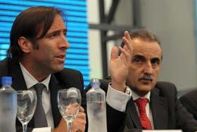 Lorenzino y Moreno, ayer, en Tecnópolis