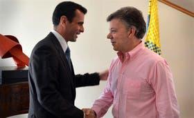 Capriles fue recibido por Santos en el Palacio del Nariño, ayer, en Bogotá