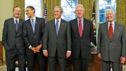 De izq. a der.: George H.W. Bush, Barack Obama, George W. Bush, Bill Clinton y Jimmy Carter