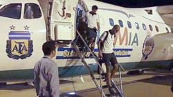 La selección en Brasil, en la aeronave de Lamia