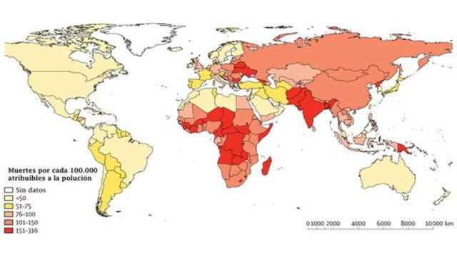 En América Latina los países con más muertes atribuibles a la contaminación son Haití, Honduras, Guatemala y Perú