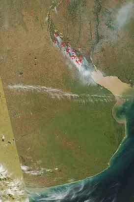 Imágenes satelitales de los incendios